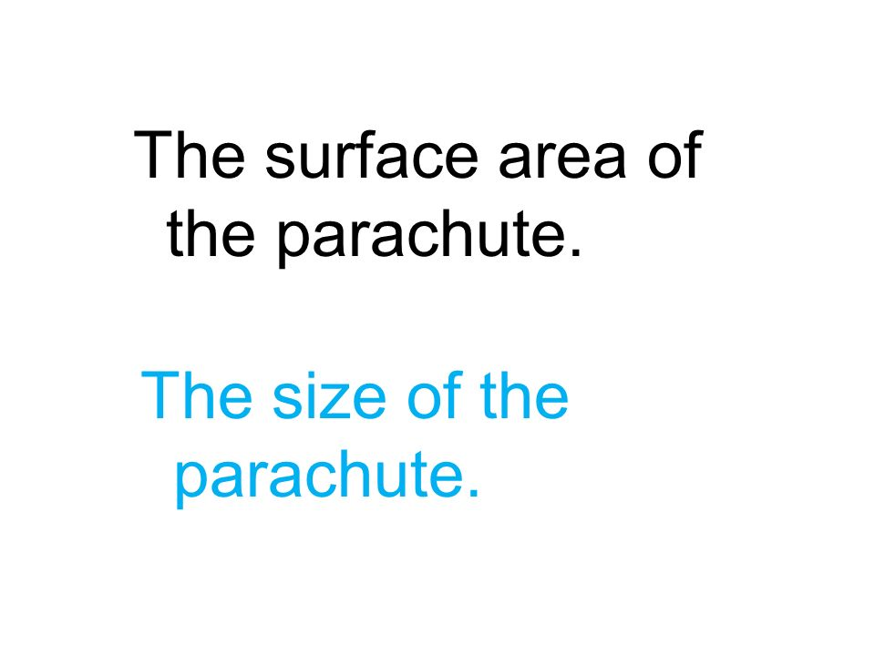 The surface area of the parachute.