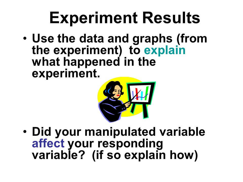 Experiment Results Use the data and graphs (from the experiment) to explain what happened in the experiment.