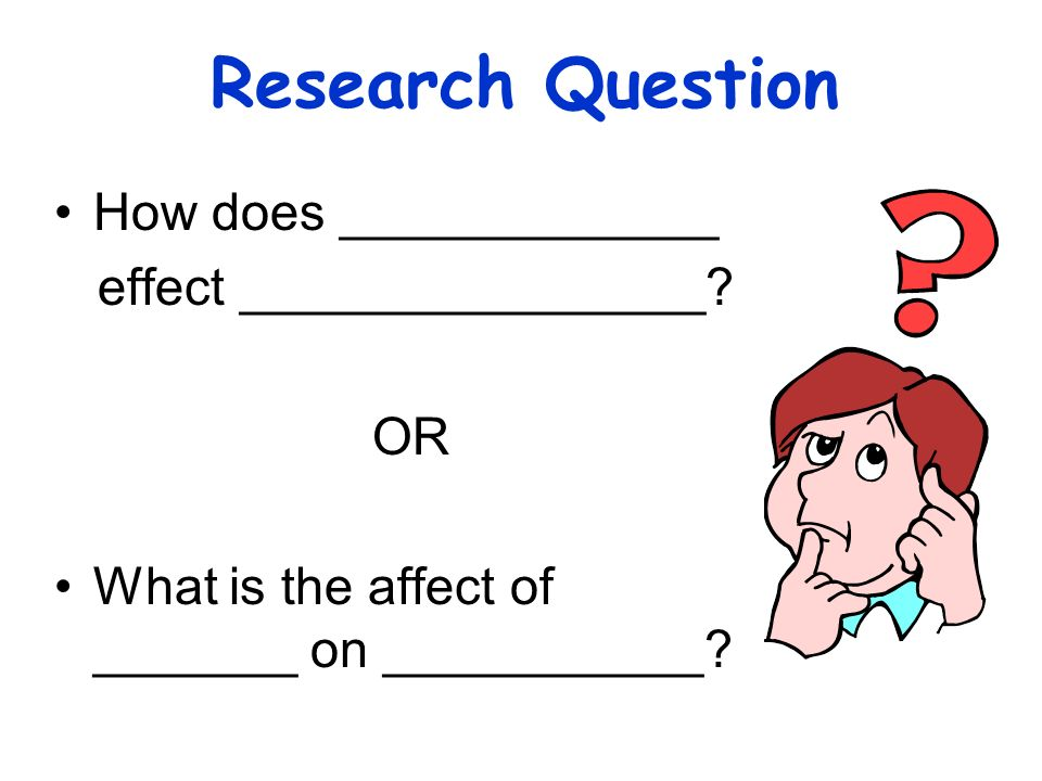 Research Question How does _____________ effect ________________ OR