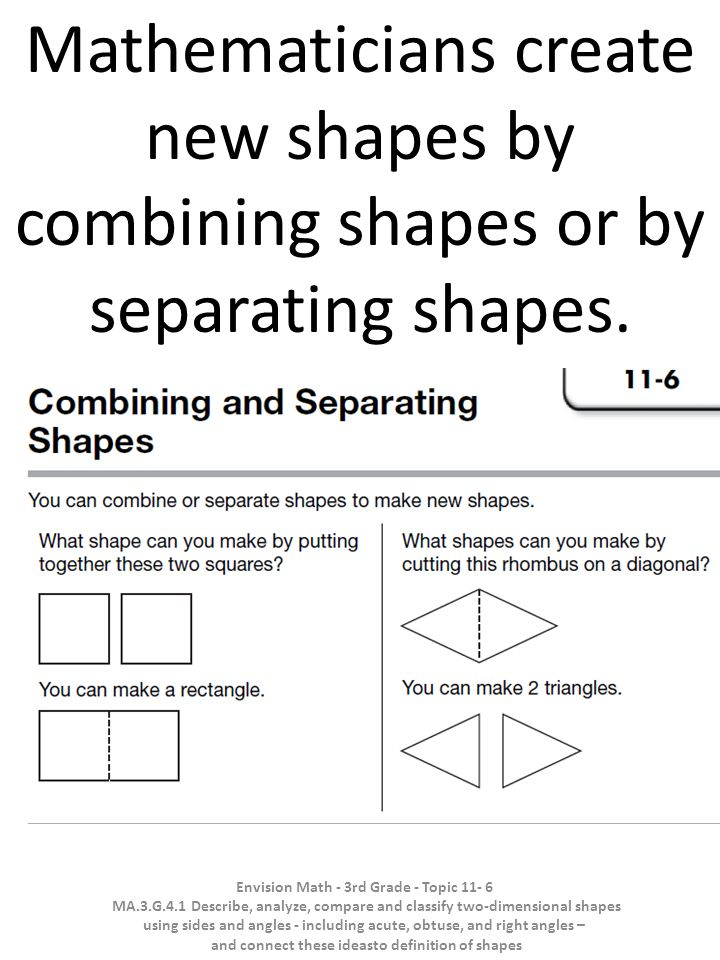 Mathematicians create new shapes by combining shapes or by separating shapes.