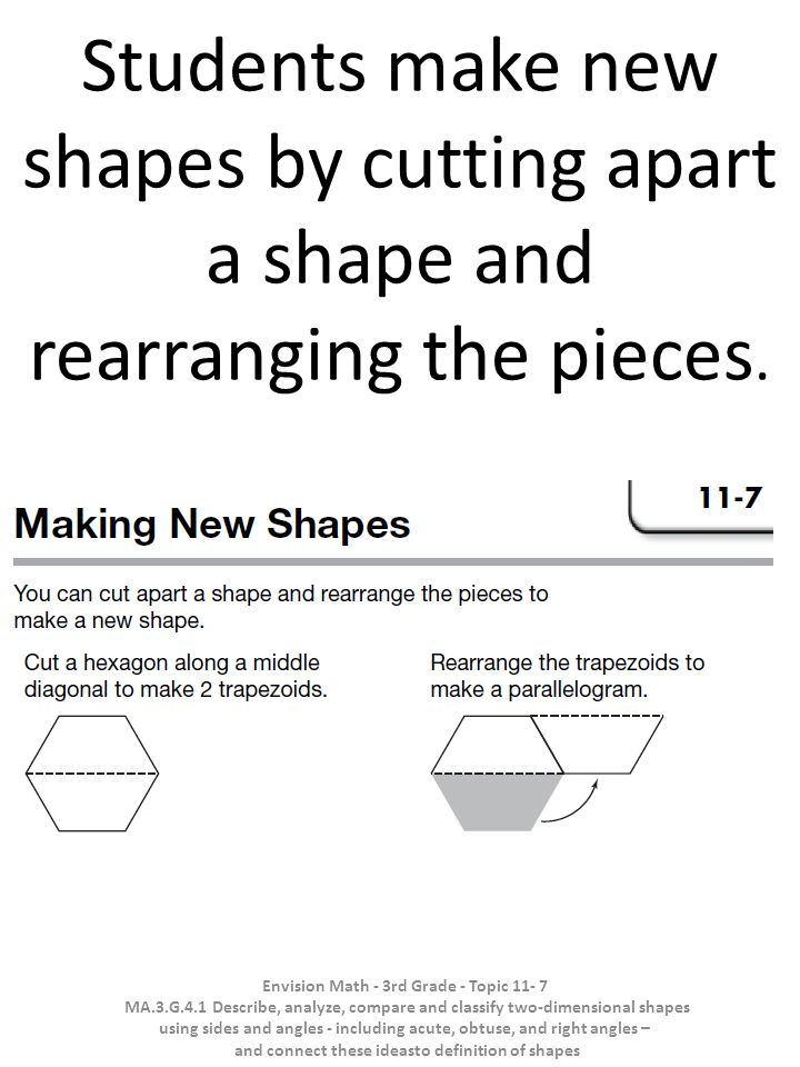 Students make new shapes by cutting apart a shape and rearranging the pieces. .