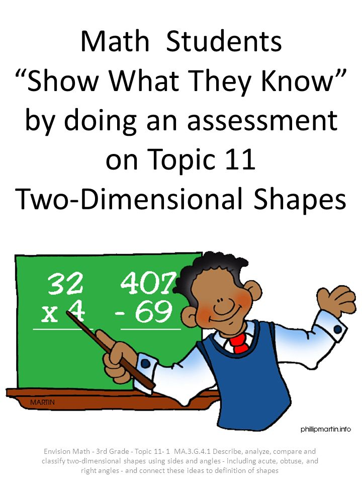 Math Students Show What They Know by doing an assessment on Topic 11 Two-Dimensional Shapes