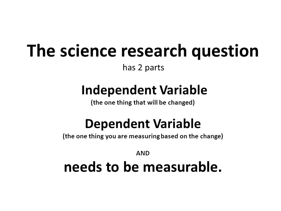 The science research question