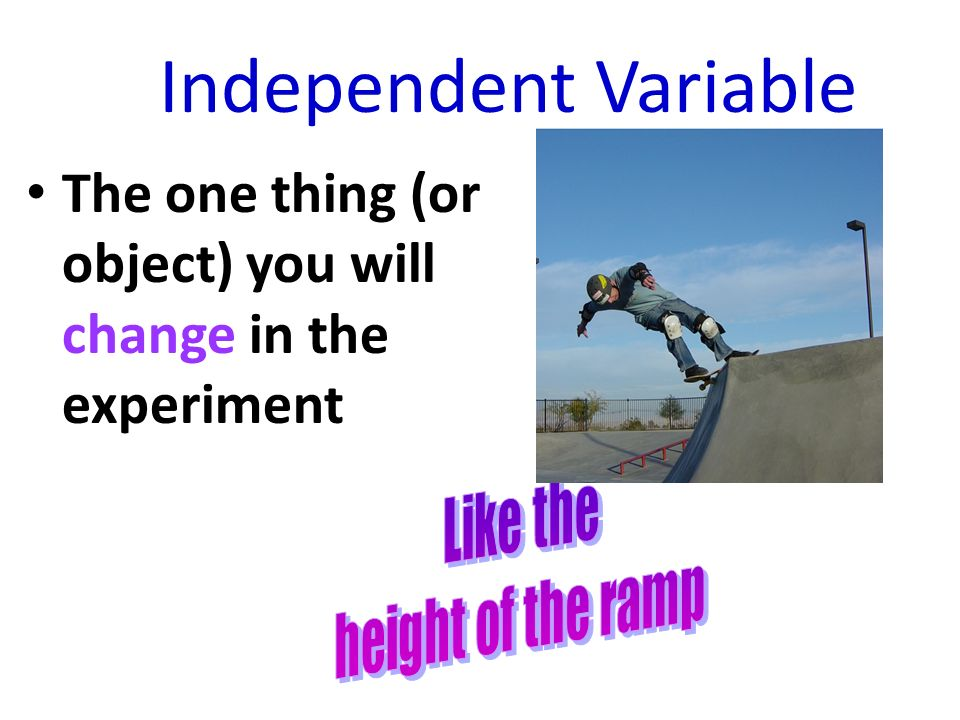 Independent Variable The one thing (or object) you will change in the experiment.