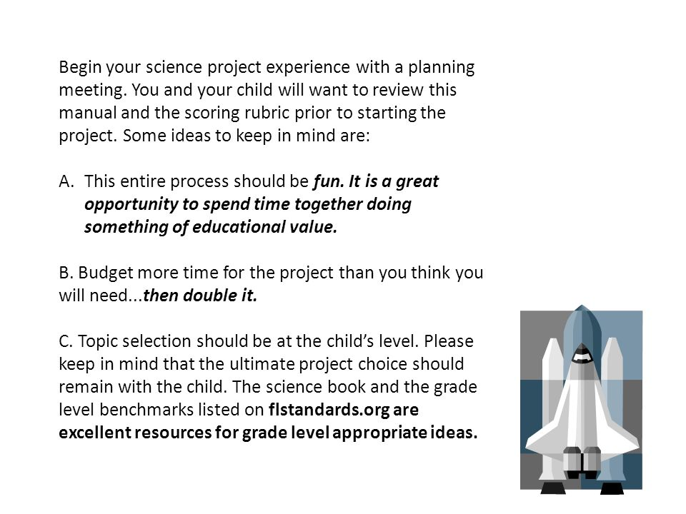 Begin your science project experience with a planning meeting