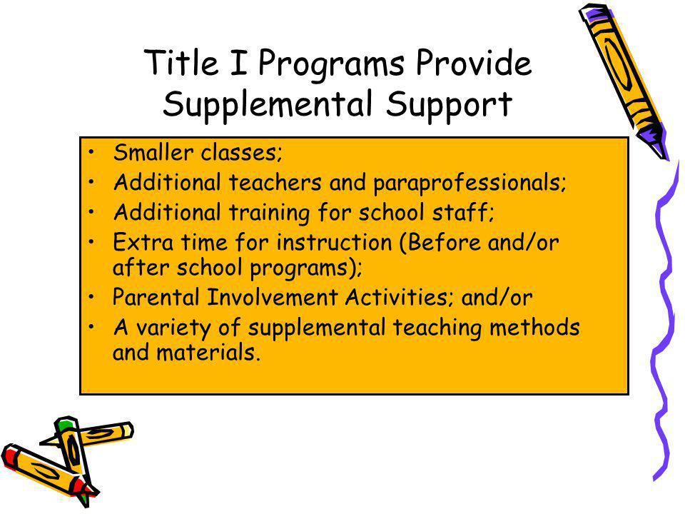 Title I Programs Provide Supplemental Support