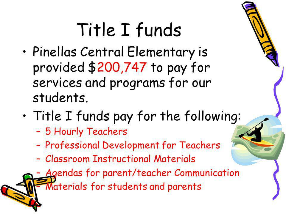 Title I funds Pinellas Central Elementary is provided $200,747 to pay for services and programs for our students.
