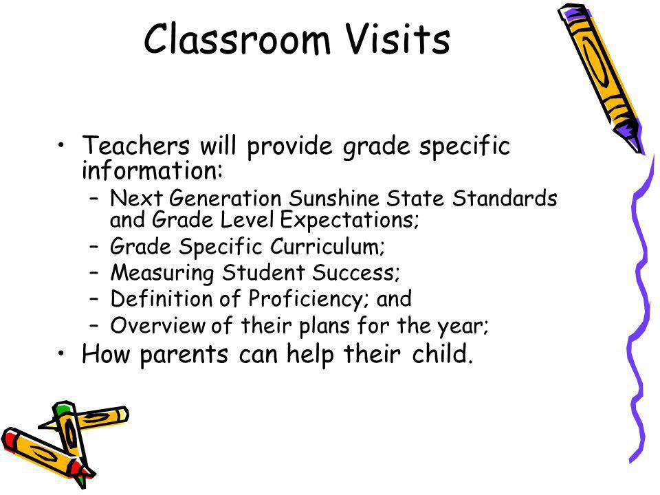 Classroom Visits Teachers will provide grade specific information: