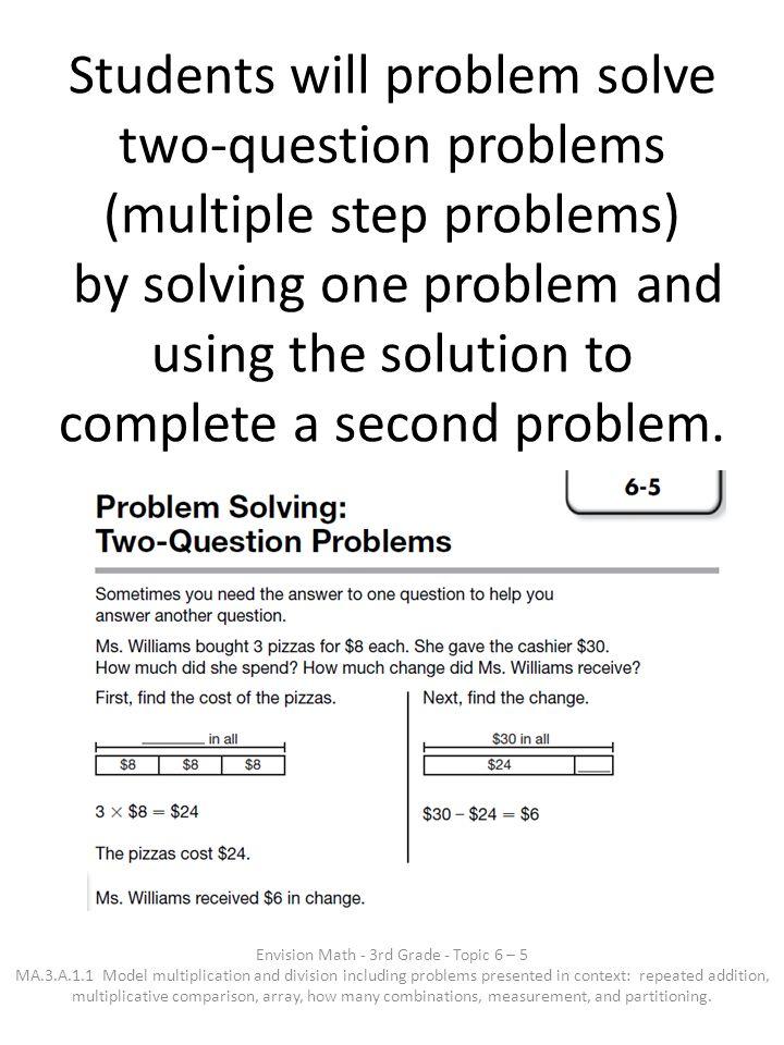 Envision Math - 3rd Grade - Topic 6 – 5