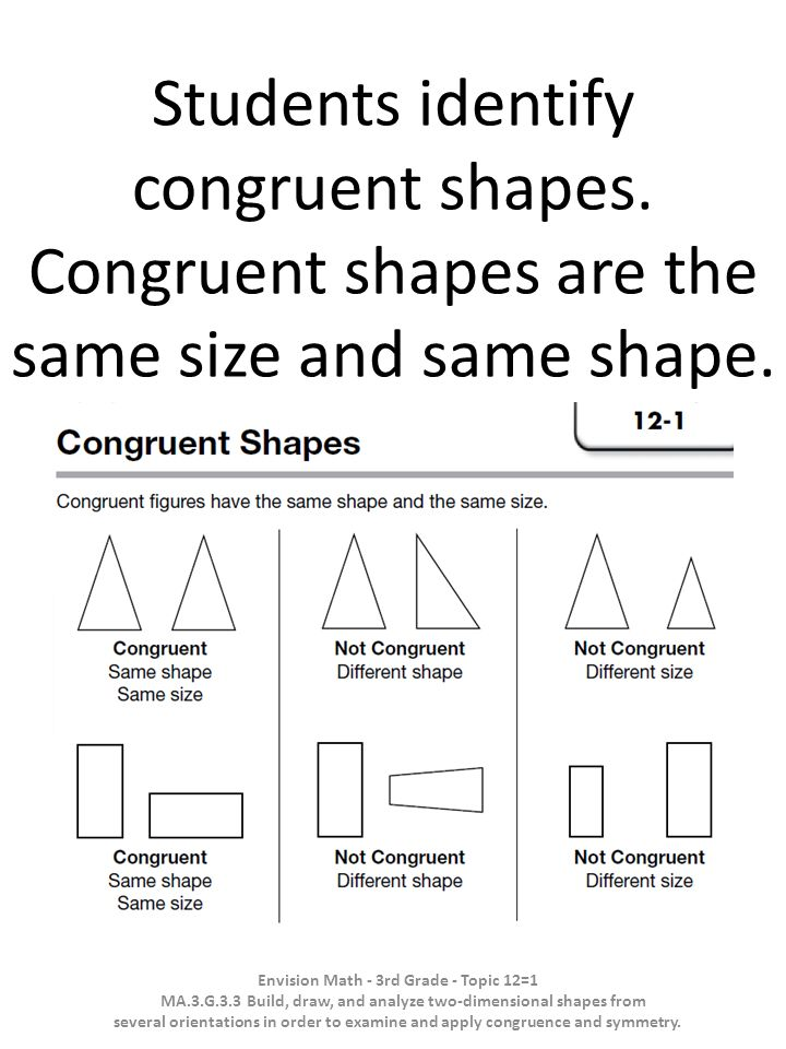 Students identify congruent shapes