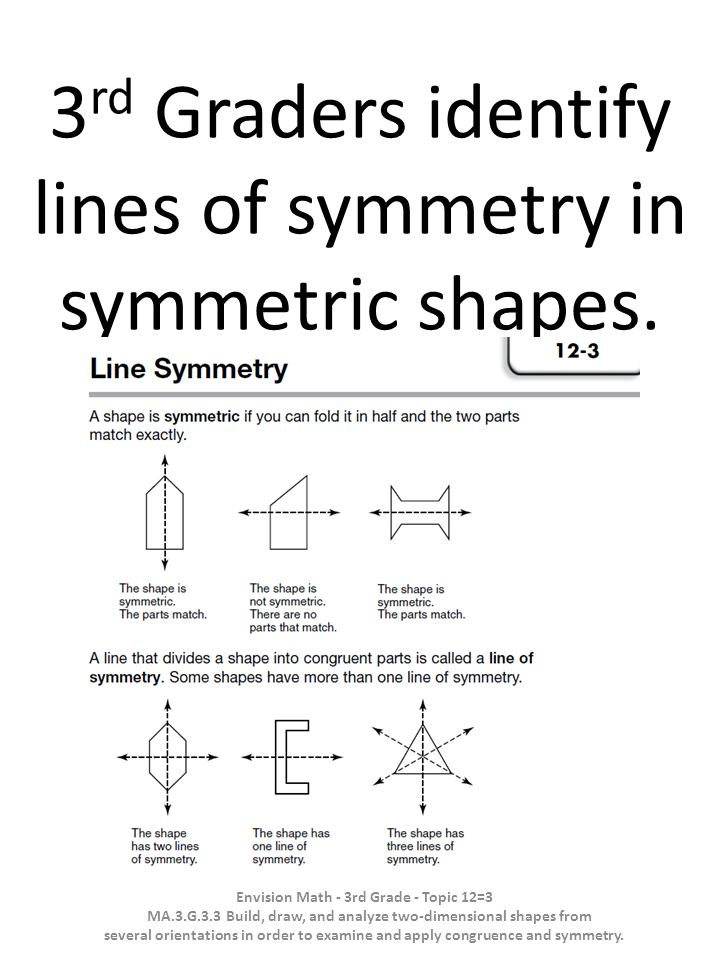 3rd Graders identify lines of symmetry in symmetric shapes.