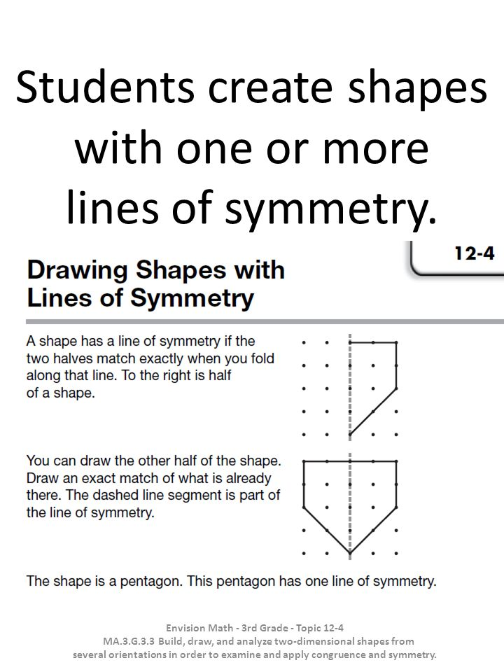 Students create shapes with one or more lines of symmetry.
