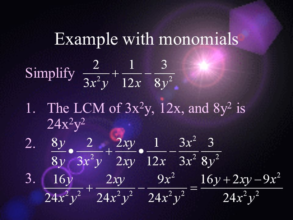 Example with monomials