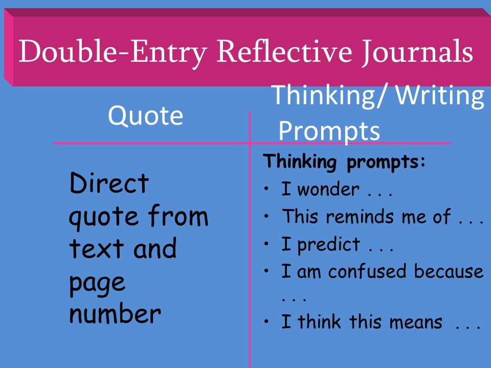 Double-Entry Reflective Journals