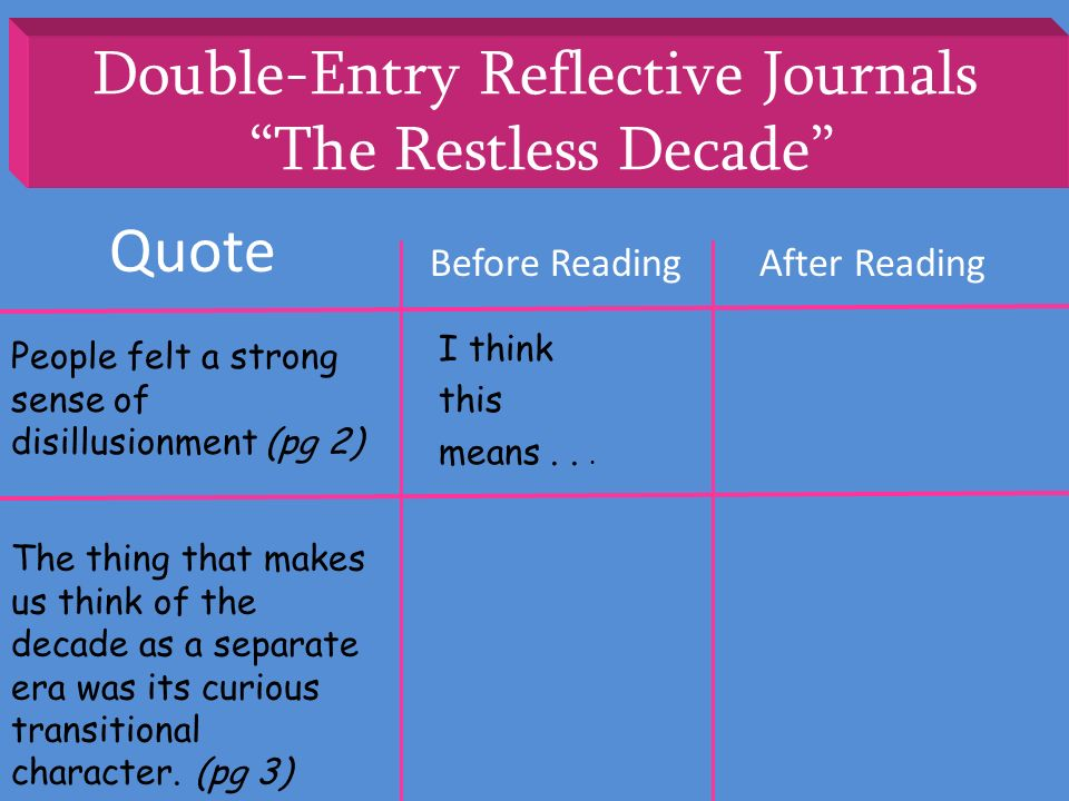 Double-Entry Reflective Journals The Restless Decade