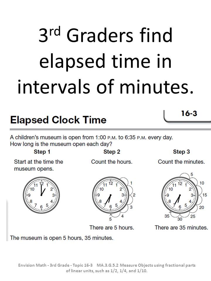 3rd Graders find elapsed time in intervals of minutes.