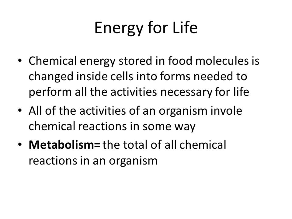 Energy for Life Chemical energy stored in food molecules is changed inside cells into forms needed to perform all the activities necessary for life.