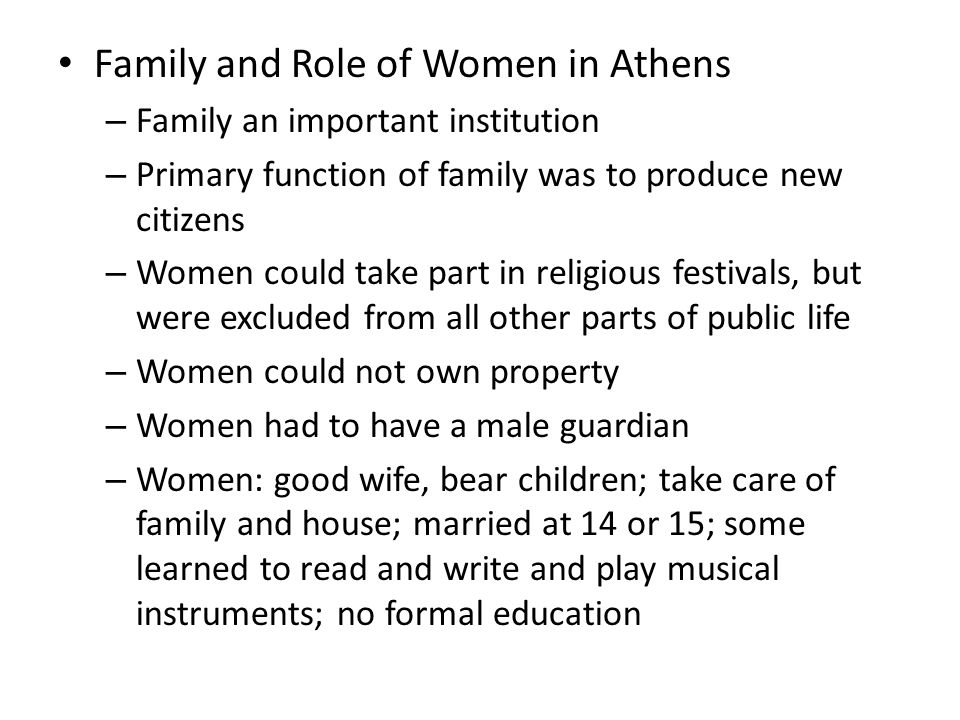 Family and Role of Women in Athens