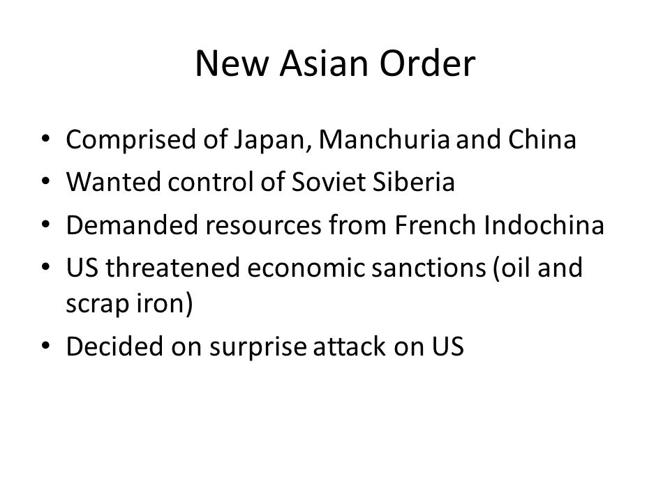 New Asian Order Comprised of Japan, Manchuria and China