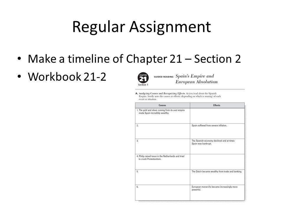 Regular Assignment Make a timeline of Chapter 21 – Section 2