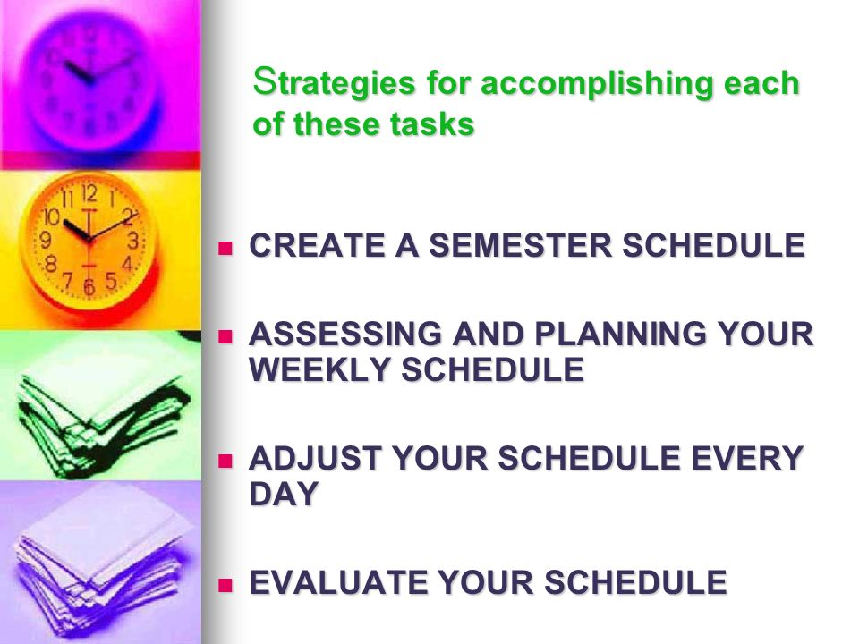 Strategies for accomplishing each of these tasks
