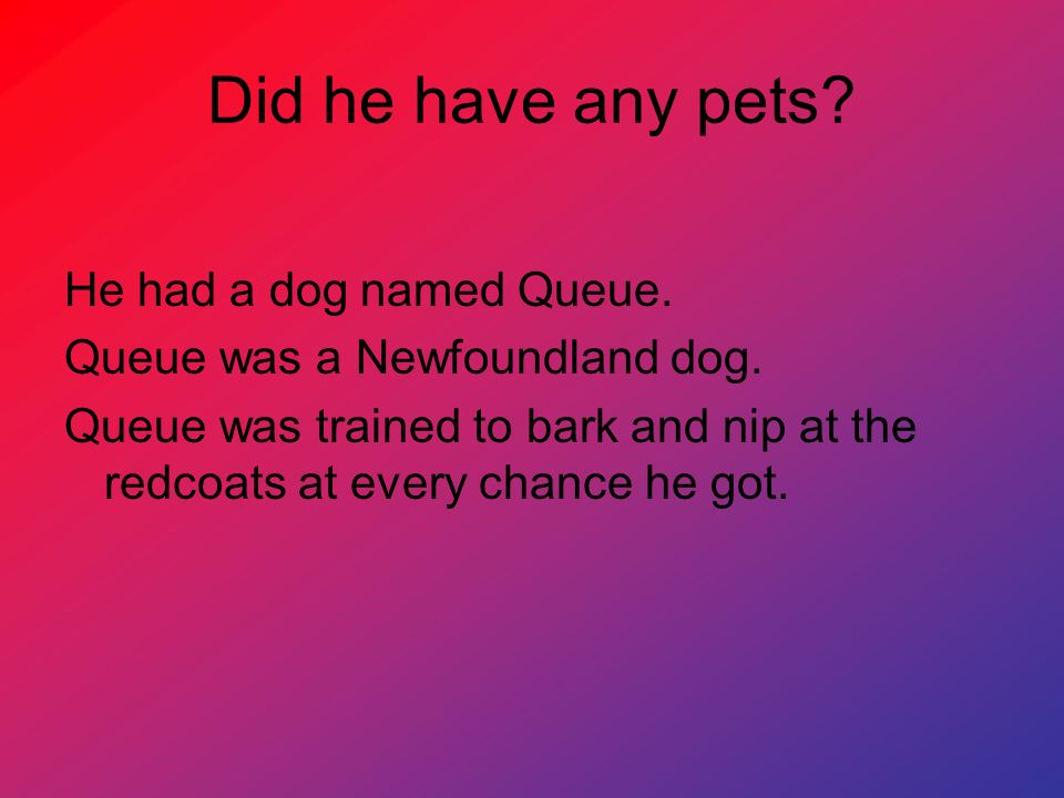 Did he have any pets He had a dog named Queue.