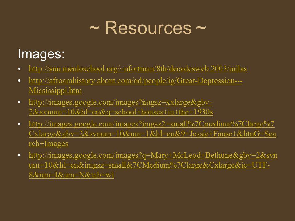 ~ Resources ~ Images: http://sun.menloschool.org/~nfortman/8th/decadesweb.2003/milas.