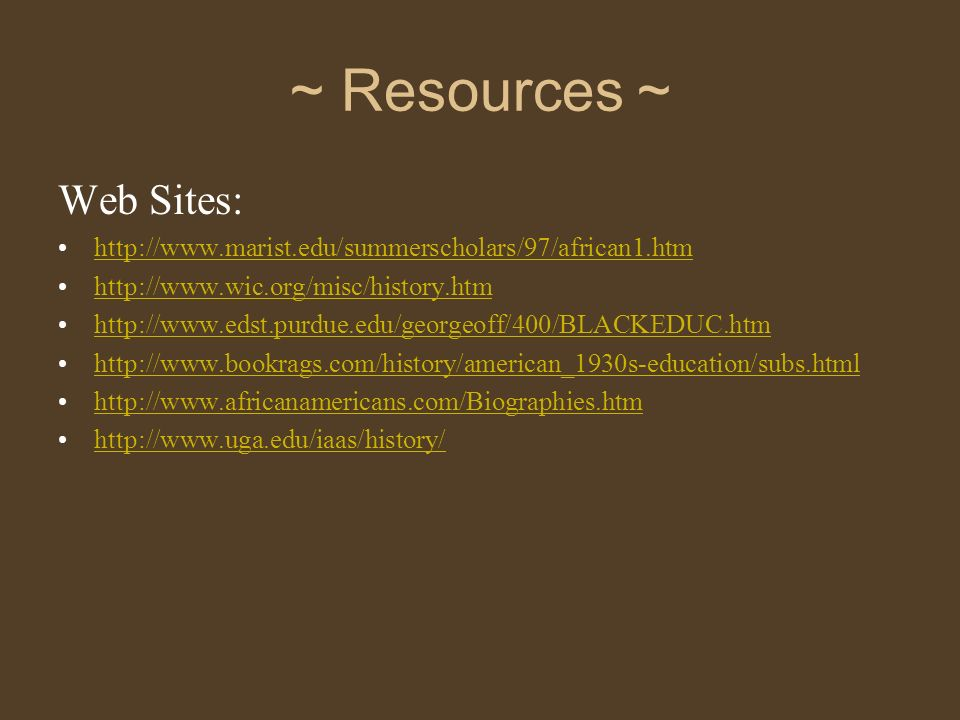 ~ Resources ~ Web Sites: