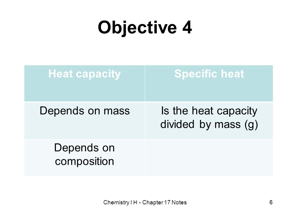 Objective 4 Heat capacity Specific heat Depends on mass