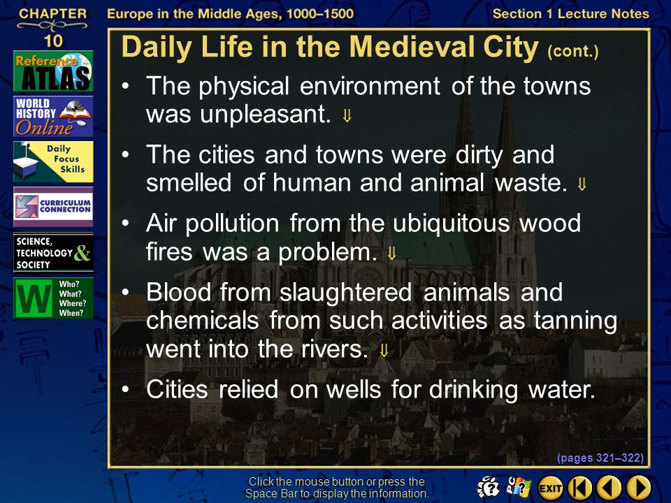 Daily Life in the Medieval City (cont.)