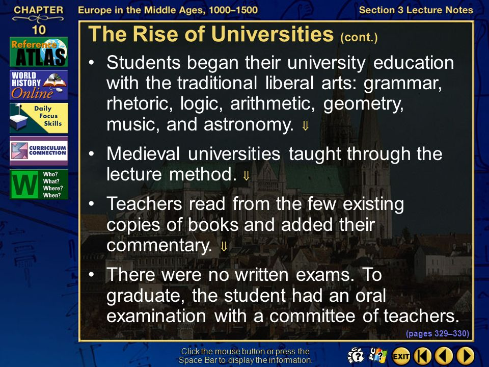 The Rise of Universities (cont.)