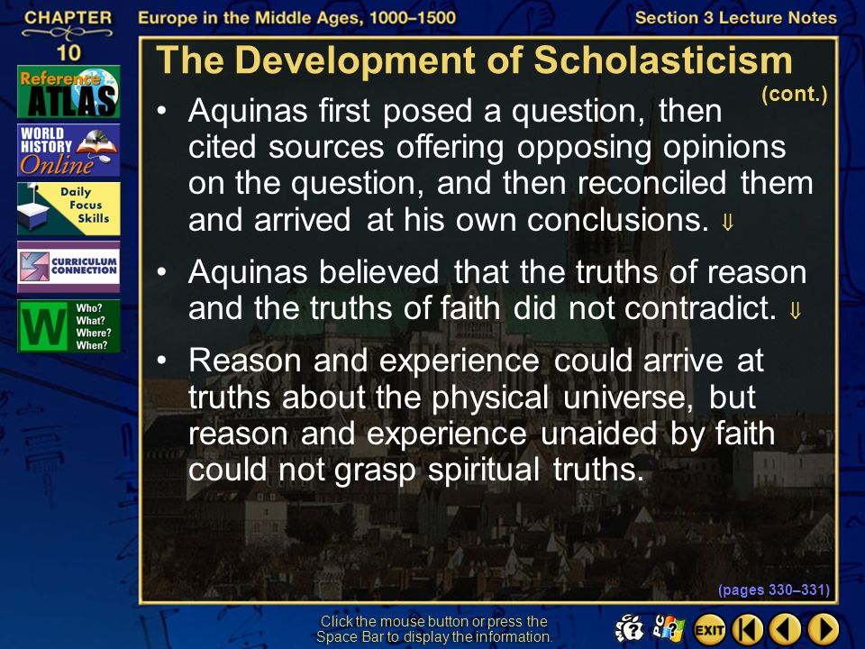 The Development of Scholasticism (cont.)