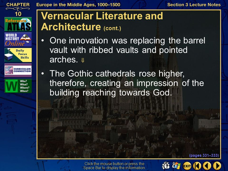 Vernacular Literature and Architecture (cont.)