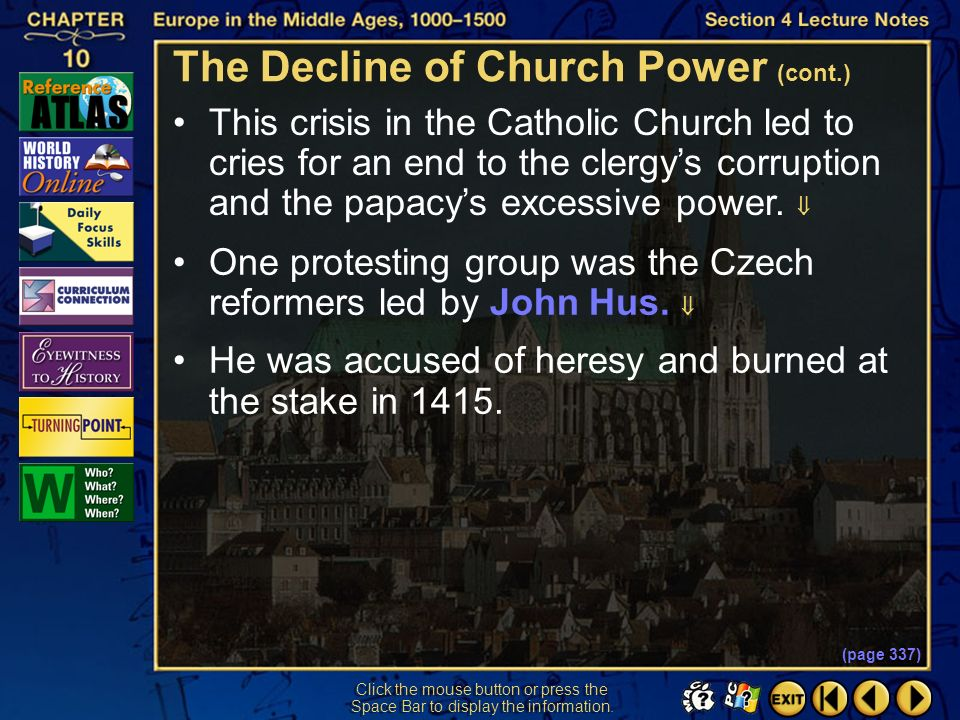 The Decline of Church Power (cont.)