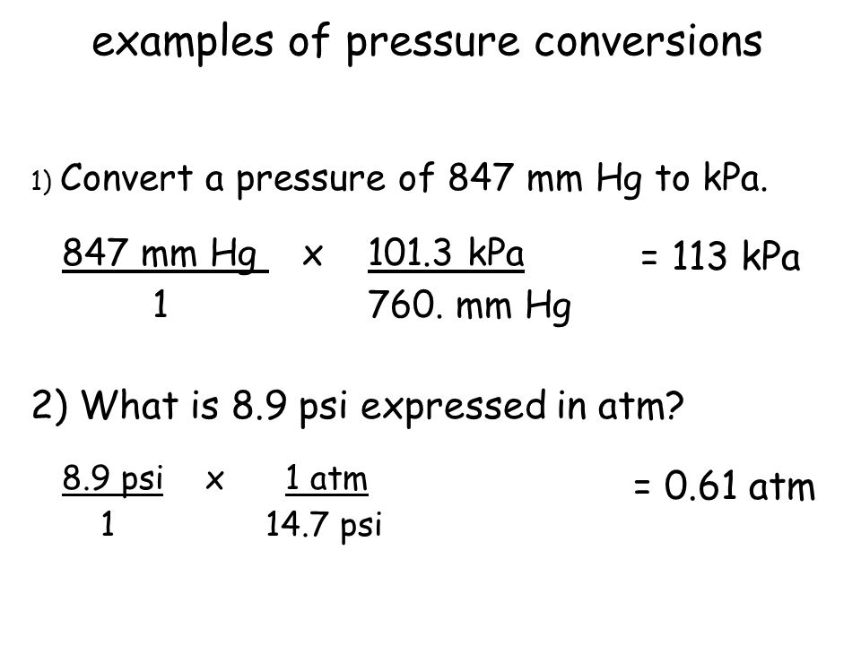 examples of pressure conversions