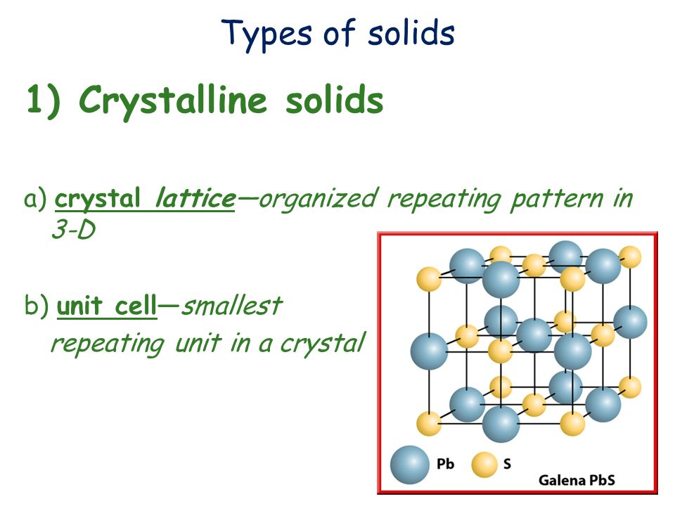 Crystalline solids Types of solids