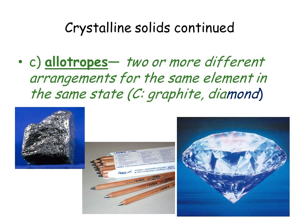 Crystalline solids continued