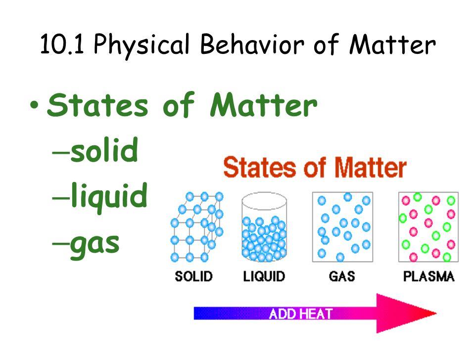 10.1 Physical Behavior of Matter