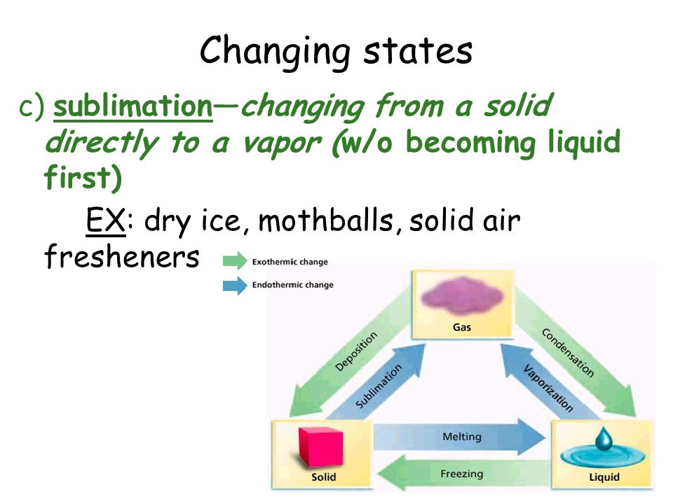 Changing states c) sublimation—changing from a solid directly to a vapor (w/o becoming liquid first) EX: dry ice, mothballs, solid air fresheners
