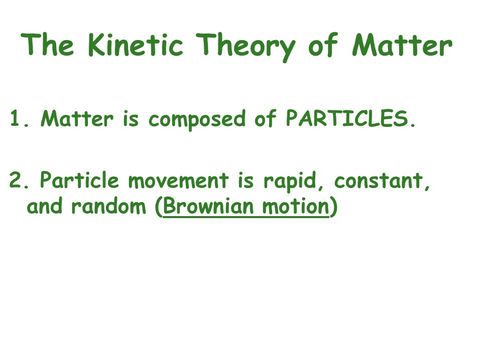 The Kinetic Theory of Matter