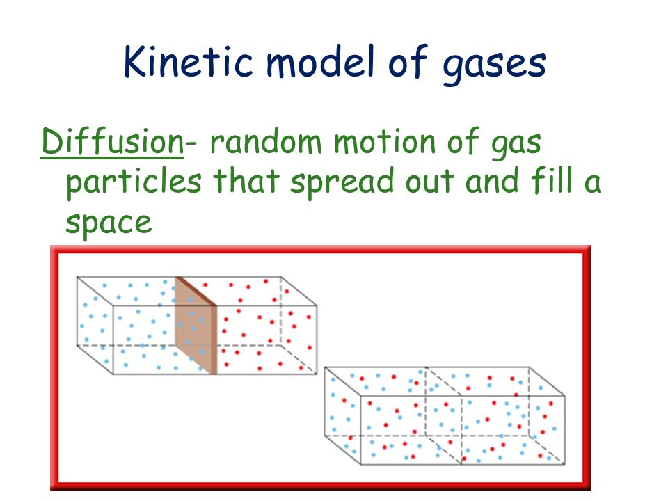 Kinetic model of gases Diffusion- random motion of gas particles that spread out and fill a space