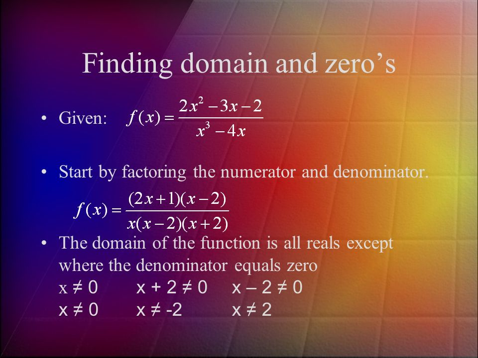Finding domain and zero's