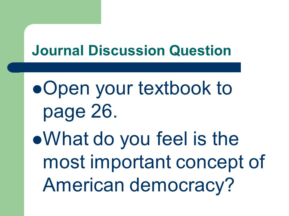 Journal Discussion Question
