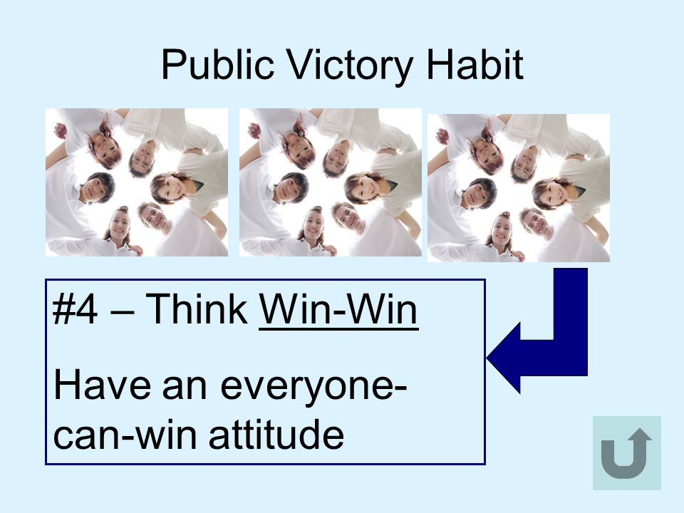 Public Victory Habit #4 – Think Win-Win Have an everyone-can-win attitude