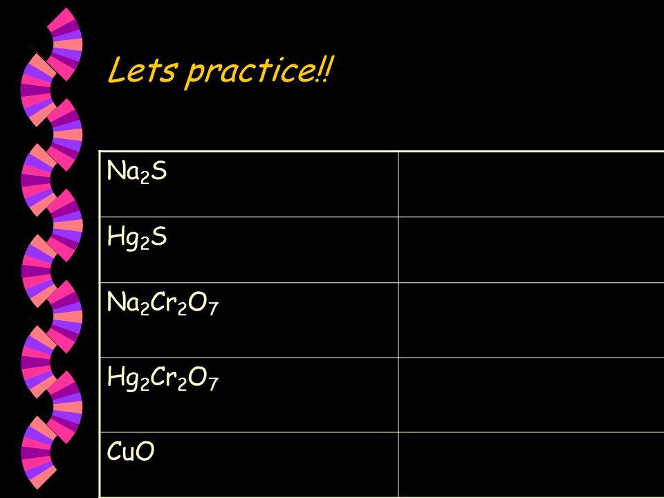Lets practice!! Na2S Hg2S Na2Cr2O7 Hg2Cr2O7 CuO