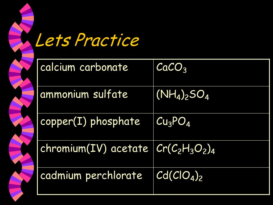 Lets Practice calcium carbonate CaCO3 ammonium sulfate (NH4)2SO4