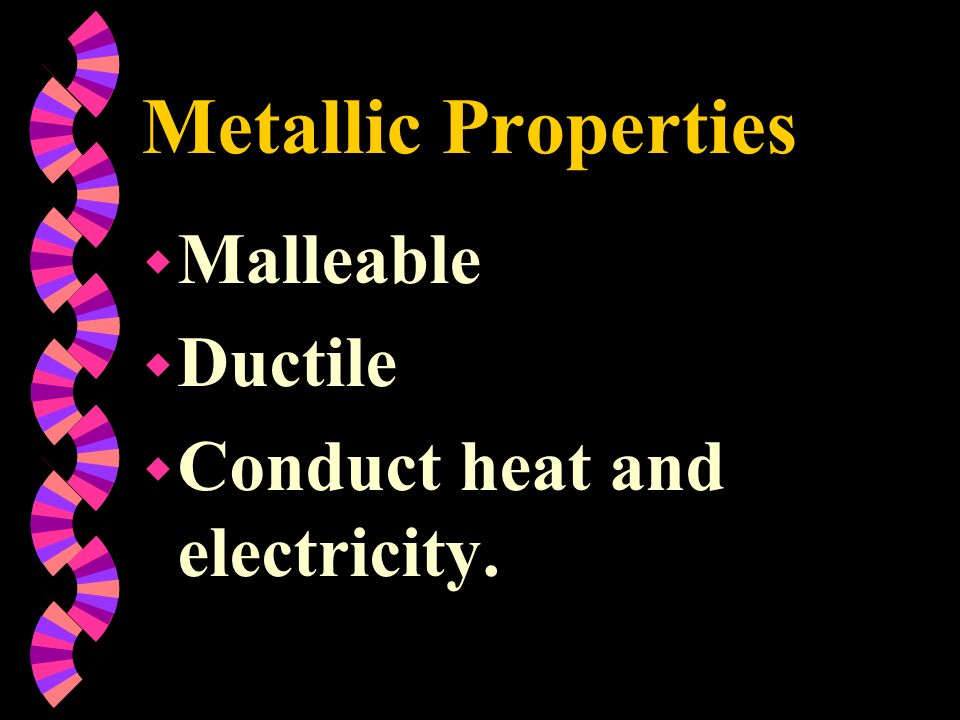 Metallic Properties Malleable Ductile Conduct heat and electricity.