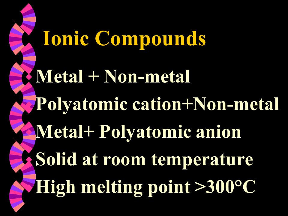 Ionic Compounds Metal + Non-metal Polyatomic cation+Non-metal