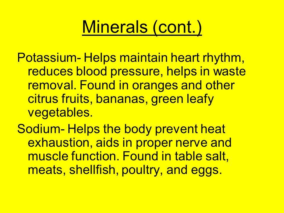 Minerals (cont.)