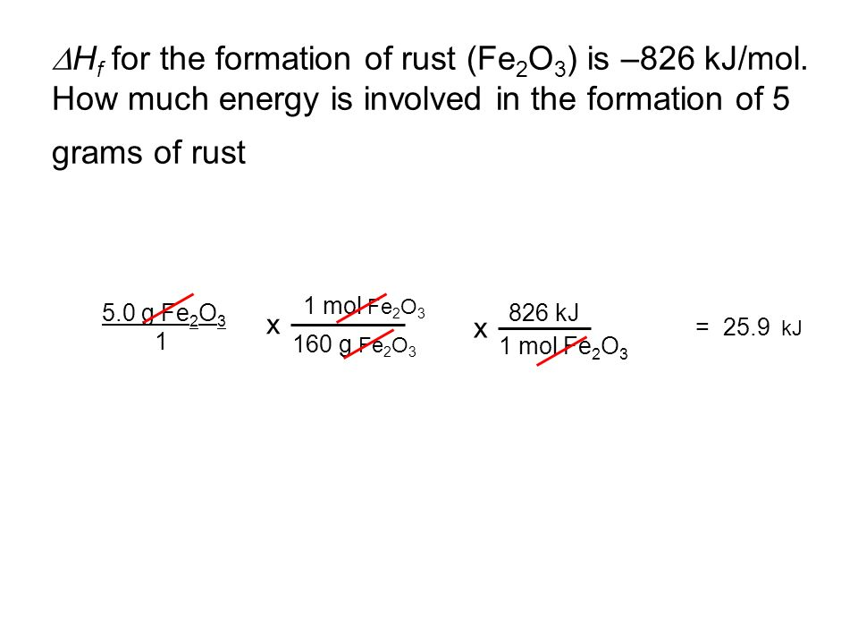 DHf for the formation of rust (Fe2O3) is –826 kJ/mol